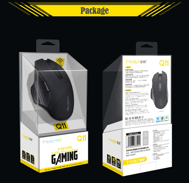 T-WOLF Q11 Mute Wireless Gaming Mouse 2400 DPI (13)