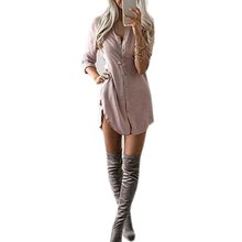Fashion Autumn Shirt-Dress Women Soft V-Neck Bodycon Dress Chiffon Long Sleeve Casual Shirt Dresses 2017 vestidos