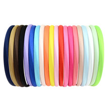 20PCS Girls DIY Plain Satin Lined Plastic Hairbands Comfortable Headbands 1CM Width ,YOU CHOOSE COLORS(China)