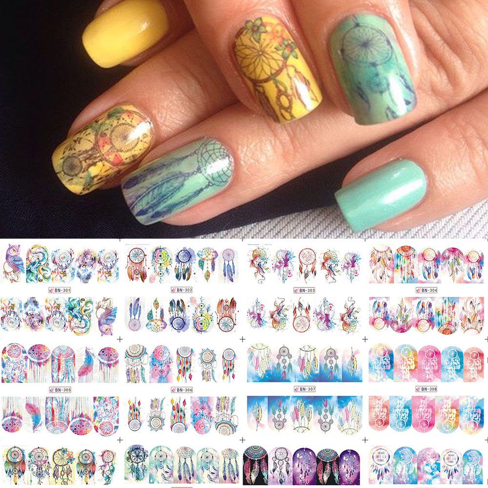1 Sheet Dream Catcher Nail Stickers Feather Nail Art Water Transfer ...