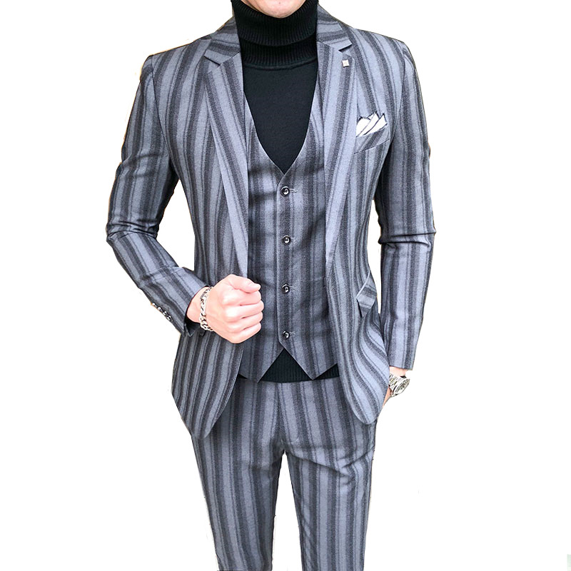 (blazer+vest+pants) British vertical stripes high-end Plus size 5XL fashion banquet official gentleman suits men's boutique suit