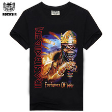Free shipping 2015 new Rock design short sleeve black color wholesale iron maiden design t shirt(China)