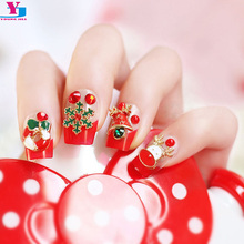 New 24pcs/set X-Mas 3D Jewelry False Nail Tips With Glue Faux Ongles Avec Colle Christmas Snow Cute Gel UV French Fake Art Nails