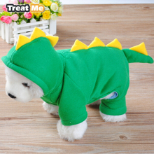 Pet Dog Clothes Funny Dinosaur Shape Costume Clothing Hoody Short Plush Pullover Coat Soft Warm Outwear