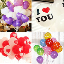 10 pcs/lot lovely Heart balloons dot balloon I LOVE YOU Latex Balloons Wedding Birthday 16 type Printed Decoration Party supply