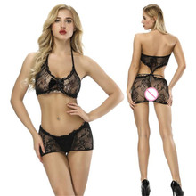 Buy open bra transparent Hollow Jacquard weave halter Bow Buttocks body sexy costumes catsuit bodystocking open crotch lingerie