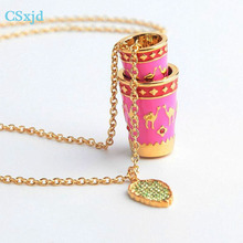 CSXjd Luxury fashion charm necklace Enamel camel pattern cup necklace sweater chain(China)