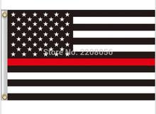 3x5ft USA B & W Flag Thin Red Line Stripes American flags eyelets, firefighter flags, black, white, red flags