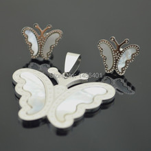 Z70 Butterfly Pendant & Earring Stainless Steel Butterfly with Natural Shell Top-Grade Plate Exquisite Wholesale Price Gift