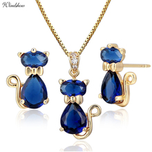 Kitty Cat Pendant Necklace Earrings Jewelry Sets Gold Color Dark AAA Blue CZ Jewellery Baby Children Kids Girls Gifts(China)