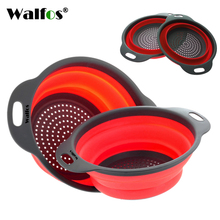 WALFOS 2017 2 pieces new food grade Silicone Kitchen Collapsible Colander Fruit Vegetable Strainer Silicone Drainer
