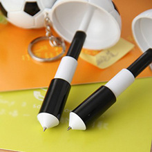 2pcs/set Cute Kawaii Creative Soccer ball point pen shape with Keychain For School Writing Supplies Stationery(China)