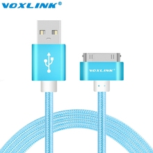 VOXLINK 1M/2M/3M Nylon Braided Line 30 pin Metal plug Sync Data USB Cable For iphone 4 4S 3GS iPad 1 2 3 4