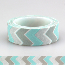 1pcs 15mm * 10m Japanese Washi Tape Decorative Adhesive Tapes Blue White Chevron Pattern Masking Paper Tape Diary Sticker Gift