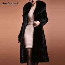 Luxury warm winter women faux fur coat black large fur collar long-sleeve mink hair design short outerwear plus sizes S-XXXL