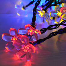 7M 50 LEDs Peach Sakura Flower Solar Lamp Power LED String Fairy Lights Solar Garlands Christmas Garden Decor For Outdoor