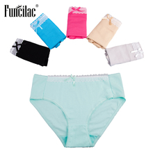 Buy FUNCILAC Underwear Women Plus Size Panties Sexy Lace Female Underwear Ladies Girls Intimate Shorts Briefs Women 5Pcs/Lot