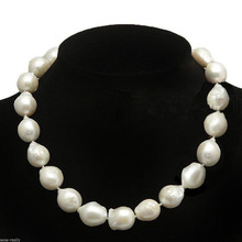 "FREE SHIPPING>@@> Hot sale new Style >>>>> RARE HUGE 13-15MM WHITE SOUTH SEA BAROQUE KESHI PEARL NECKLACE 17"" JEWELRY"