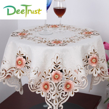 Embroidered Handmade European Round Table Cloth Topper Luxury Polyester Satin Jacquard Floral Tablecloths Manteles Wedding