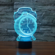 foreign trade new clock colorful 3D light creative touch desktop desk lamp atmosphere LED illusion lamp