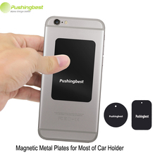Pushingbest Metal Plates With 3M adhensive for Magnetic Car Phone Holder Stand For iPhone Mobile Cell Phone GPS Magnet