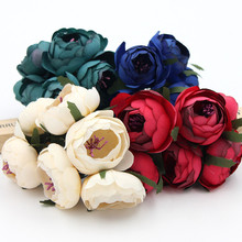 6pcs/lot 4.5cm artificial flowers simulation flowers small silk cloth roses tea bags diy handmade wedding ball decoration materi