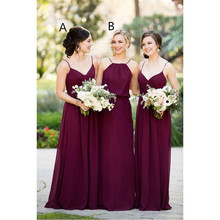 Cheap Burgundy Bridesmaid Dresses Long 2017 Chiffon Country Style Maid Of Honor Dress For Weddings Party Vestido Madrinha