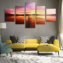 5Pcs No Frames Nightfall Bridges Canvas Painting Wall Art Picture Hanging Painting For Home Living Room Hotel Wall Decor