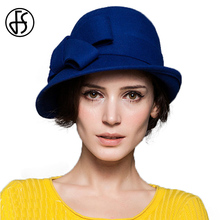 FS Winter Elegant 100% Wool Wide Brim Bowler Fedora Church Hats For Women Wine Red Royal Blue Vintage Felt Bowknot Cloche Hat(China)