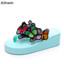 3D butterfly wedge platform sandals woman handmade women flip flops casual thong slippers fancy shoes hawaiian sandals seaside(China)