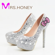 Hello Kitty Silver Rhinestone Bridal Wedding Shoes Graudation Party Prom High Heel Shoes Formal Dress Pumps Plus Size(China)