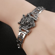 Fashion Punk Wolf Head Stainless Steel Charm bracelet for Women Bracelets & Bangles Charms Bracelets Men Pulseira Jewelry Gift(China)