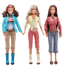 Original Long Hair Doll / Cowboy Style Blue Sweater Blouse Pants Boots Shoes Outfit Accessories / For Barbie Doll Girls Gift(China)