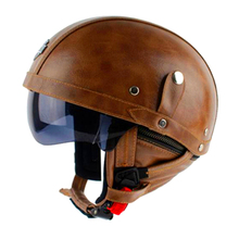 Hot Sale High Quality Brown Leather Vintage Motorcycle Helmets Scooter Motorbike Retro Harley helmet with Visor and Goggles