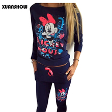 2017 Hot Selling Women Casual Sportswear Printed Hooded long-sleeved Suit Tenue Femme Tracksuits