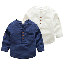 2017 Spring Children's Clothing Kids White Shirt Boys Long-sleeve V Neck Casual Shirt Toddler Top 2T 3T 4T 5 6 7 8 Year Baby Top
