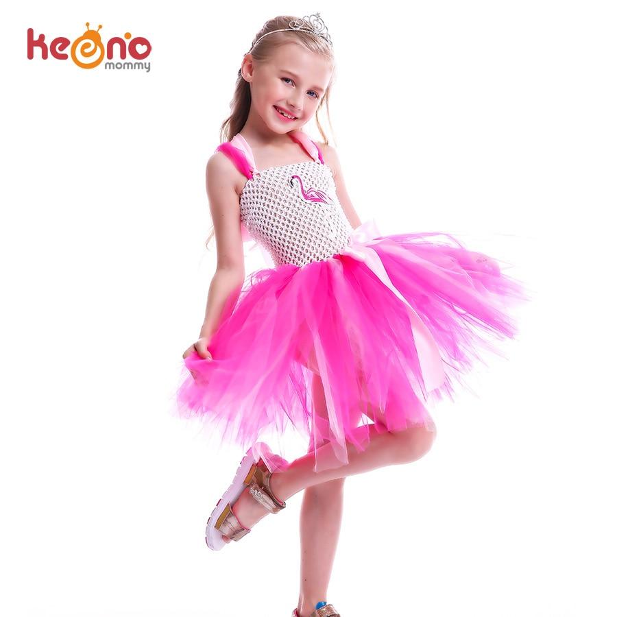 Girls Flamingo Princess Dress Pink Flower Tulle Clothes Kids