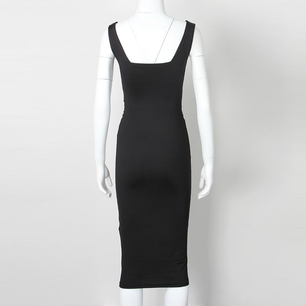 Women Summer Bodycon Dress 2018 Scoop Collar Sleeveless O-neck Sexy Midi Dresses Sheath Clubwear Femme Party Slim Dress GV575 3