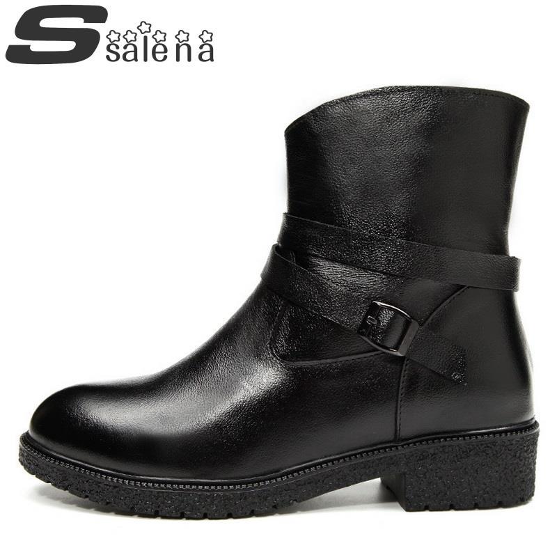 Women Ankle Boots Genuine Leather Boots Fashion Platform Lace Up Solid Shoes Women Snow Boots Winter Autumn Size 35-40 #C339<br>