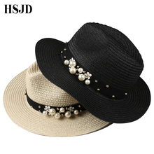 31545d205745c Granos de la flor del sol sombreros de paja para las mujeres perla remache  ancho Brimmed