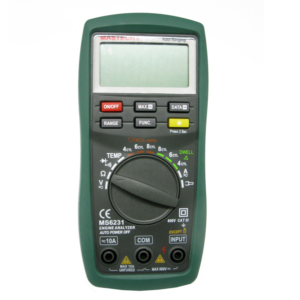MASTECH New AUTO RANGE DIGITAL ENGINE ANALYZER MS6231 DWELL car diagnostic TACH diode Te<br>