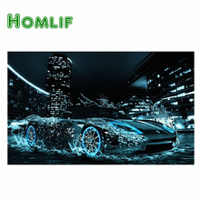 Homlif deep blue style new product round full drill diamond painting diy diamond embroidery blue car in city with water(China)