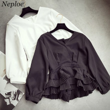 Neploe Ruffle Patchwork Pleated Blouse Autumn Winter New Fashion Elegant Women Blusas Puff Sleeve Solid V-neck Slim Shirts 66623(China)