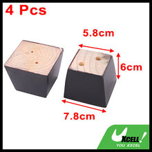 2.4 inch Universal Wooden Sofa Legs Convenient, Screw Install No Drill Hole Black Set of 4pcs(China)