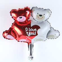 Mini I LoveYou Bear Hand held Balloon Aluminum Foil Balloons Party/Wedding Decoration Balloons Celebration Supplies(China)