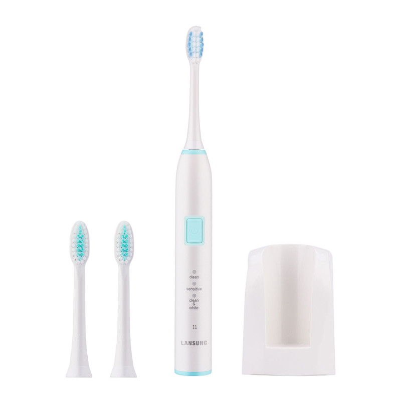 LANSUNG Sonic Electric Toothbrush 3 Brush Heads For Adult Chidren 3 Cleaning Modes Wireless Charge Tooth Brush Waterproof Travel<br>