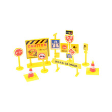 Road Signs Toys 10pcs/pack Traffic Signage Model Engineering Road Signs DIY Mini Signpost Traffic Scene Educational Toys(China)
