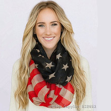 Vintage American Flag Scarf Ring 4th of July USA Women Square Scarfs Infinity Scarves Bandana Hijab Girls Accessories A0407