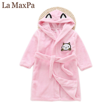 Buy La MaxPa Winter New Children Nightgown Flannel Hooded Cartoon Kids Pajamas Thickening Long Bathrobe Cute Boys Girls Home Robe for $13.19 in AliExpress store