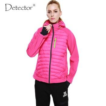 Detector 2016 mujeres deporte de invierno softshell chaqueta al aire libre impermeable a prueba de viento que va de excursión la ropa de abrigo